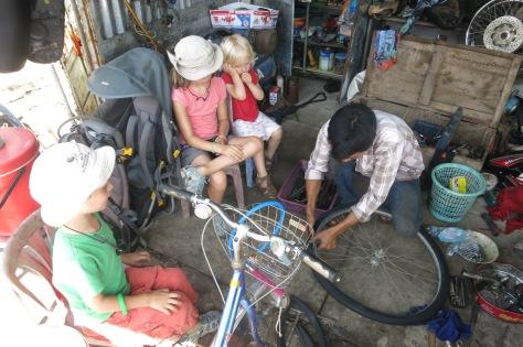 Réparation du pneu crevé