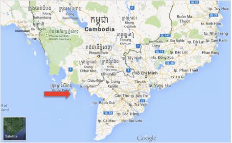 Sur la carte du Vietnam, Phu Quoc est l'île indiquée en rouge.